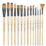 Paint Brushes-14 PCS Nylon Hair Brush for Oil,Acrylic&Watercolor ...