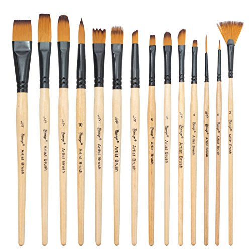 paint-brushes-14-pcs-nylon-hair-brush-for-oilacrylicwatercolor-paintinghandy-carrying-case-by-bianyo