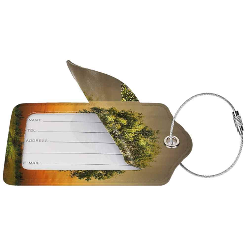 Durable luggage tag Landscape Sunset Scenery in a Valley with a Big Old Tree Artwork Photo Unisex Marigold Fern Green and Grey W2.7 x L4.6