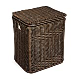 The Basket Lady Rectangular Wicker Laundry Hamper | Clothes Hamper, Large, Antique Walnut Brown
