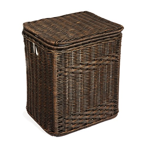 The Basket Lady Rectangular Wicker Laundry Hamper | Clothes Hamper, Large, Antique Walnut Brown by The Basket Lady