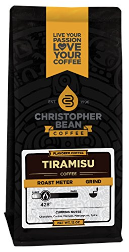 Christopher Bean Coffee Flavored Whole Bean Coffee, Tiramisu, 12 Ounce