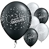 CONGRATULATIONS GRADUATE Assorted Pearl Onyx Black and Silver printed latex balloons by Qualatex by Qualatex