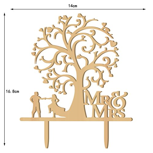 Tinksky Cake Topper Wood Bird Tree Wedding Cake Decorations (Wooden)