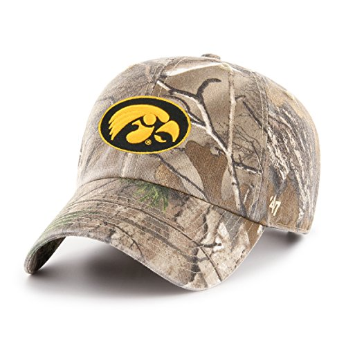 47 NCAA Iowa Hawkeyes Adult Clean Up Realtree Adjustable Hat, One Size, Realtree Camo