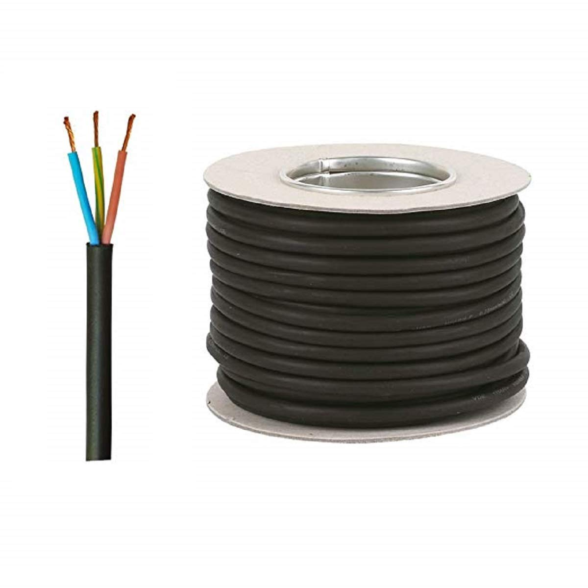 Tough Rubber Pond Cable 3 Core 0.75mm 25 Meters With Waterproof Cable Connector