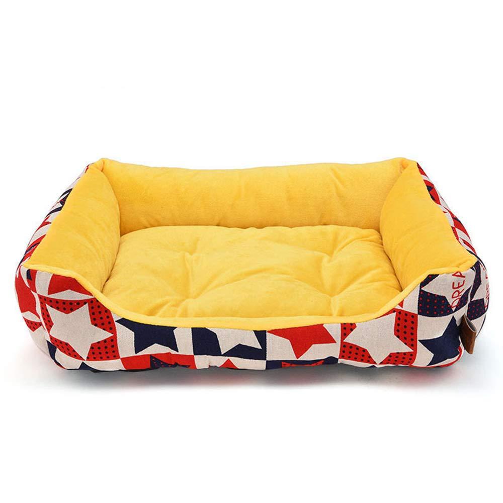 Huichao Pet Dog Bed, Bed, Bed, Pet Dog Round Bed Soft Velluto Caldo Caldo Pad per Cani Piccoli e Medi e Gatti nelle giornate Fredde (6 Stili e 3 Taglie),giallolongsection,M 2227bb