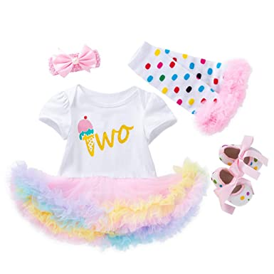 859a4ed96 Amazon.com: Dsood Infant Baby Girl My First Easter Outfits Tutu Romper  Dress Headband Shoes Set: Clothing