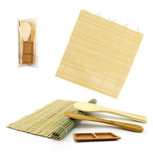 BambooMN Sushi Maker Kit 3 Sets of 1x Green, 1x Natural Bamboo Rolling Mats, 1x Rice Paddle, 1x Spreader, 1 Compartment Sauce Dish by BambooMN