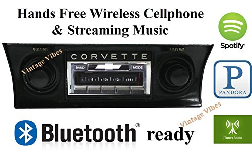 Custom Autosound Stereo + BLUKIT compatible with 1968-1976 Corvette, USA-630 II Bluetooth Enabled High Power 300 watt AM FM Car Stereo/Radio
