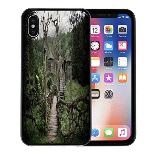 (Semtomn Phone Case for Apple iPhone Xs case,Blue Old Medieval Wooden Fortification Green Castle Pagan Building for iPhone X Case,Rubber Border Protective Case,Black)