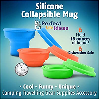 Collapsible Travel Mug Silicone Bpa-free 16 Ounce Dishwasher Safe Pop up Cup. Cool Funny Unique Camping Travelling Gear Supplies Accessory. Fold Flat for Storage. Brand: Perfect Life Ideas -Tm R