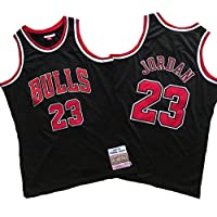 YSA Men's Basketball Clothes NBA Chicago Bulls 23# Michael Jordan Retro Embroidered Jerseys, Mesh Breathable Sleeveless Vest Sports Tops,C,S(170CM/50~65Kg)