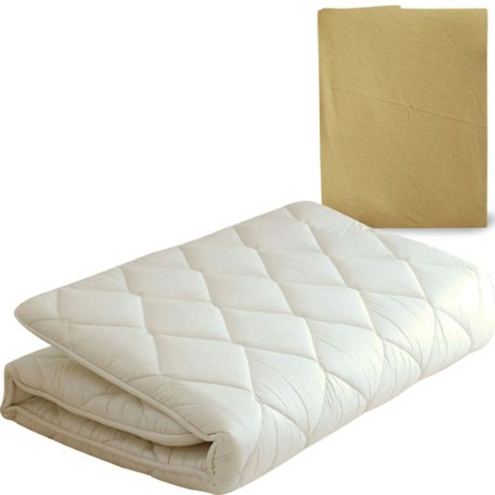 EMOOR Japanese Traditional Futon Mattress ''Classe'' with Mattress Cover (Beige), Full Size. Made in Japan
