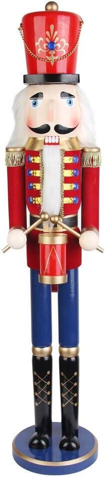 Jeco 36 Inch Red Nutcracker Drummer Soldier Decorative Christmas Nutcrackers Garden Outdoor