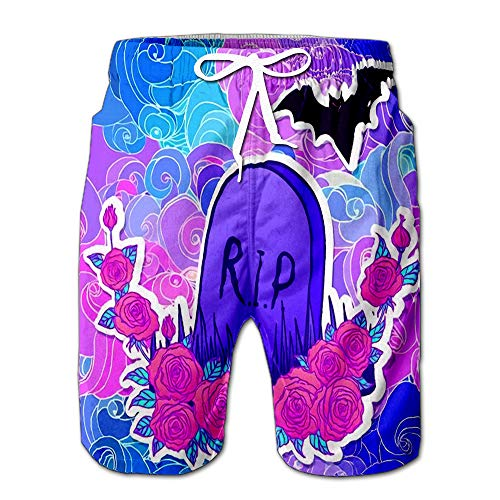 Quick Dry Tombstone Bat Roses Glamour Halloween in Neon Pastel Colors Cute Gothic Style Beach Shorts Swim Trunks Board Shorts S]()