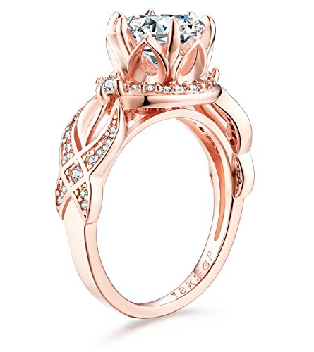 AndreAngel Women Ring Rose Gold 18K/Lab Diamond 6 mm 3 Carat Top Quality Cubic Zirconia AAAAA+ Princess Cut/Bridal Birthday Dating Gift Anniversary Promise Engagement or Wedding Mother's Day (6)