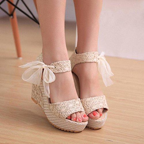 SKY Comfortable to wear it !!!Mujeres Zapatos de encaje de la marea pendiente con sandalias abiertas 10.5cm high Blanco