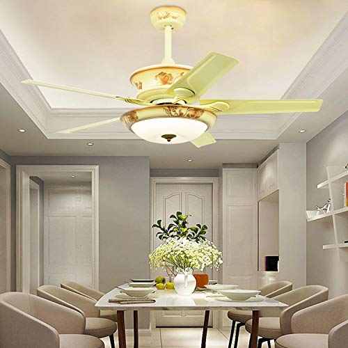 Ceiling Fan With Led Light Remote Control and 5 Metal Blades Reversible FREQUENCY CONVERSION 52 Inch Yellow For Home Decoration Living Room Bedroom,Tropicalfan