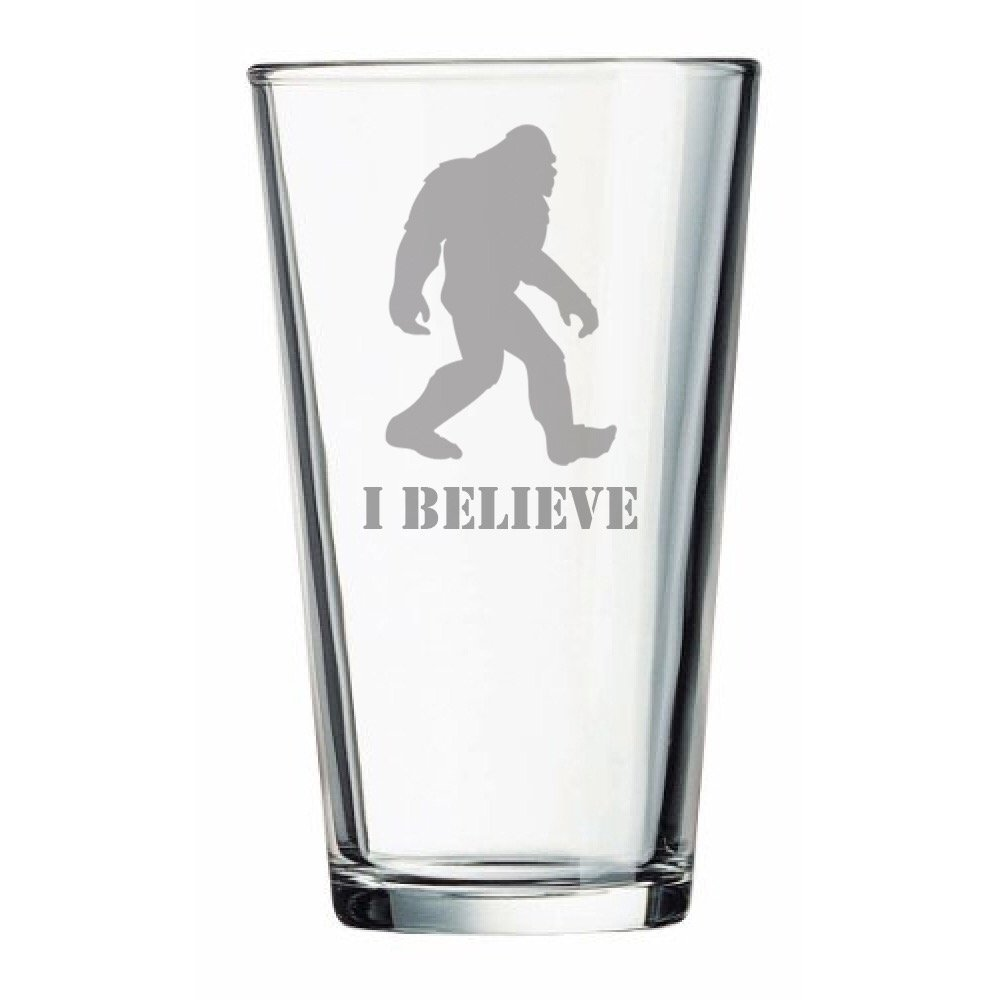 """""""I Believe"""" Bigfoot - Sasquatch Gifts - Beer Glass - Funny Gift - Christmas - Birthday - Couples - Gone Squatchin - Kitchen Accessories - Dad - Garden Gnome"""