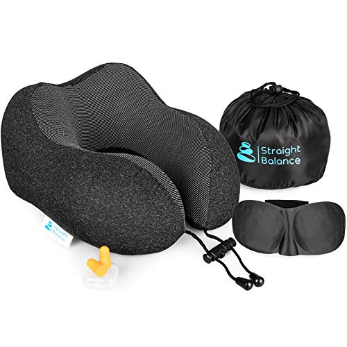Straight Balance Travel Pillow   Premium 100% Pure Memory Foam   Comfortable and Breathable   Travel Kit with Neck Support, Cooling Lycra Cover, Sleep Mask, Earplugs and Luxury Bag