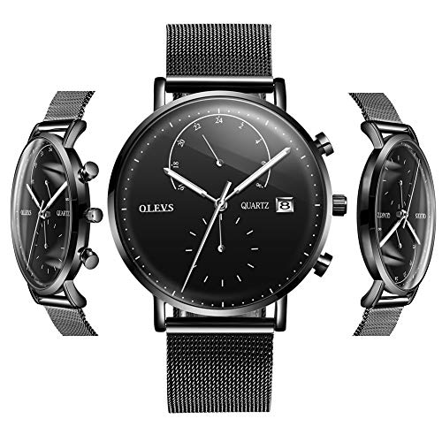 (OLEVS Black Watches for Men Inexpensive Watches for Men Waterproof Mens Watches Calendar 2019 Stainless Steel with Day Date Watch 24 Hour Analog Quartz Gift Watch for Birthday Party Business)