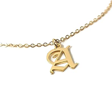 58cb2f7082851 AOCHEE Personalized Old English Initial Necklace Custom Monogram Layered  Name Choker
