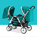 Lightweight Twins Stroller Double Baby Stroller to Sit Face to Face, 2 Seats Baby Carriage Pushchair for 0-36 Months Kids (B)