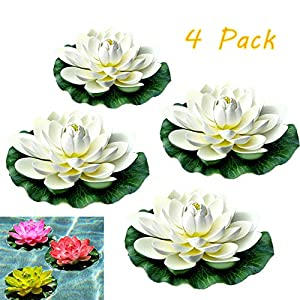 briskyii Pack of 4 Artificial Floating Lotus Flowers - Multi Color Foam Water Lily Pad Ornaments for Home Garden Patio Koi Pond Pool Aquarium Wedding Decor (White) 101