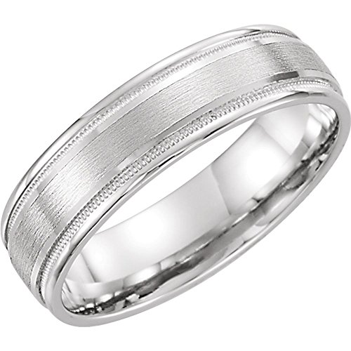 Jewels By Lux Platinum 6mm Flat Edge Comfort Fit Milgrain Satin Finish Wedding Ring Band Size 10