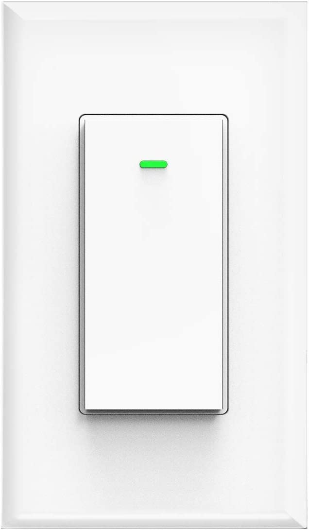 Smart Switch, WiFi Smart Light Switch Compatible with Amazon Alexa and Google Home, Neutral Wire Needed, with Remote Control, Timing Schedule, No hub Required MK36 (1Pack)