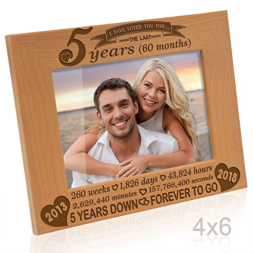 5 Year Wood - Kate Posh - 5 years (60 months) Anniversary - Includes 2013 (Marriage Year) and 2018 (5th Anniversary Year) - Engraved Natural Solid Wood Picture Frame and Wall Decor (4x6-Horizontal)