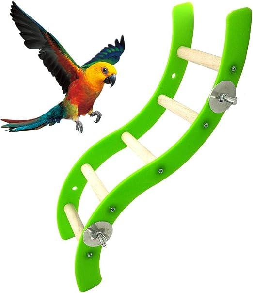 Volwco - Escalera para Jaula de pájaros con Forma de Onda de acrílico, Escalera de Madera, Escalera, Escalera, Escalera, Juguetes para hámster, Ardilla, hurón, cobaya, Chino, Loro, etc.: Amazon.es: Productos para mascotas