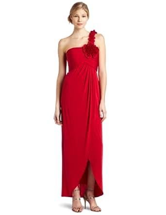 BCBGMAXAZRIA Women's Elysa One Shoulder Drape Dress, Rio Red, X-Small