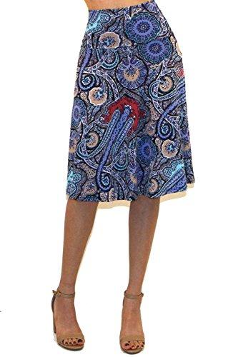 Fold Over Flare Skirt - Vivicastle Women's Basic Fold-Over Stretch Midi Knee Length Flare Skirt - Made in USA (X-Large, AK4)
