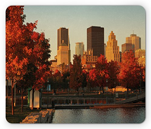 Ambesonne City Mouse Pad, Old Port of Montreal Early in The Morning Scenic Autumn Trees Buildings Canada, Standard Size Rectangle Non-Slip Rubber Mousepad, Red Orange Brown