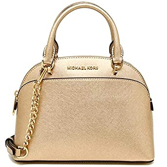 4111648ea492 Michael Kors 35H7MY3S1M EMMY Small Dome Satchel Crossbody Gold Leather  Handbag - Pale Gold