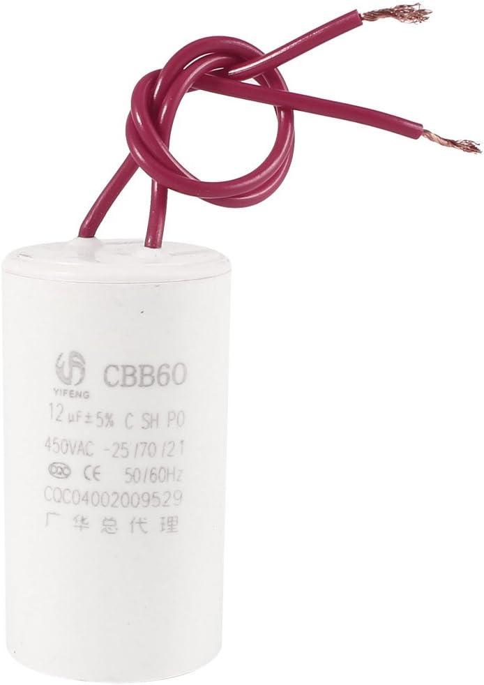 Aexit CBB60 AC 450V 12uF 50 60Hz 5/% Doppelleitungen Zylinder Polypropylen Film Motor Run Kondensator Wei/ß f/ür Waschmaschine 1f11a1b3eb96168daf916a2069747e1f