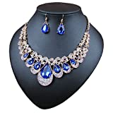 Crystal Glass Water Droplets Large Stones Necklace and Stud Earrings Set for Women