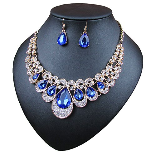 - Crystal Glass Water Droplets Large Stones Necklace and Stud Earrings Set for Women (blue)