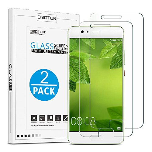Price comparison product image OMOTON Huawei P10 Plus Screen Protector [2 Pack]- [9H Hardness] [Crystal Clear] [Bubble Free] Tempered Glass Screen Protector for Huawei P10 Plus