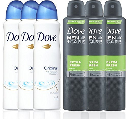 - 3 Bottles Dove Anti-Perspirant Deodorant Original & 3 Bottles Dove Men + Care Extra Fresh Spray Deodorant 48hr 150ML / 5.07 Oz - (Total 6 Bottle Pack)