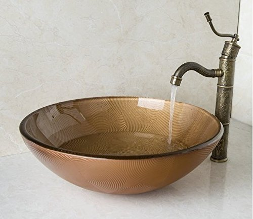 GOWE Brown Hand Painted Round Tempered Glass Vessel Sink With Brass Bathroom Faucet Bowl Sinks Set 1
