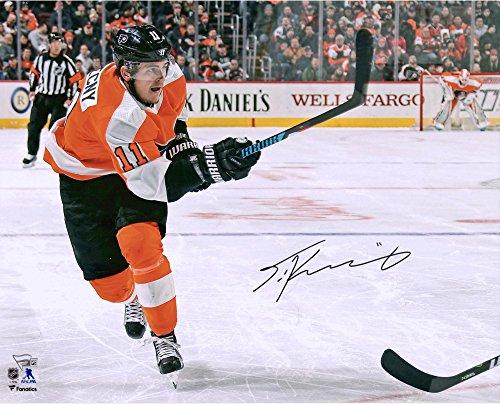 "Travis Konecny Philadelphia Flyers Autographed 16"" x 20"" Orange Jersey Shooting Photograph - Fanatics Authentic..."