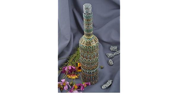 Botella de vidrio hecha a mano recipiente para vino elemento ...