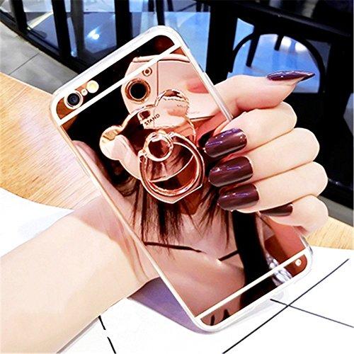 Funda iPhone 6S Plus con Anillo,Saincat TPU Silicona Carcasa Cute Bear Ring Stand Titular Caso Cover Lujo Moda Espejo de Bear Espejo Funda Mirror Case Ultra Delgado Silicona Suave Carcasa con Ring Sta Oro rosa