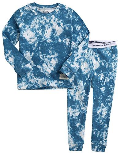 Vaenait Baby Kids Boys 100% Cotton Sleepwear Pajamas 2pcs Set Prisim Blue M