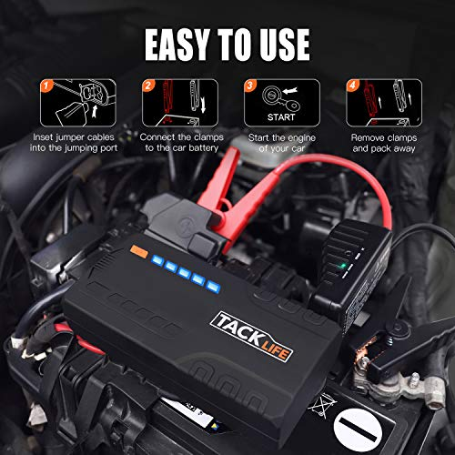 TACKLIFE T6 Car Jump Starter - 600A Peak 16500mAh, 12V Auto Battery Jumper with Quick-charge, Booster (up to 6.2l gas, 5.0l diesel), Portable Power Pack for Cars, Truck, SUV, UL Certified by TACKLIFE (Image #5)