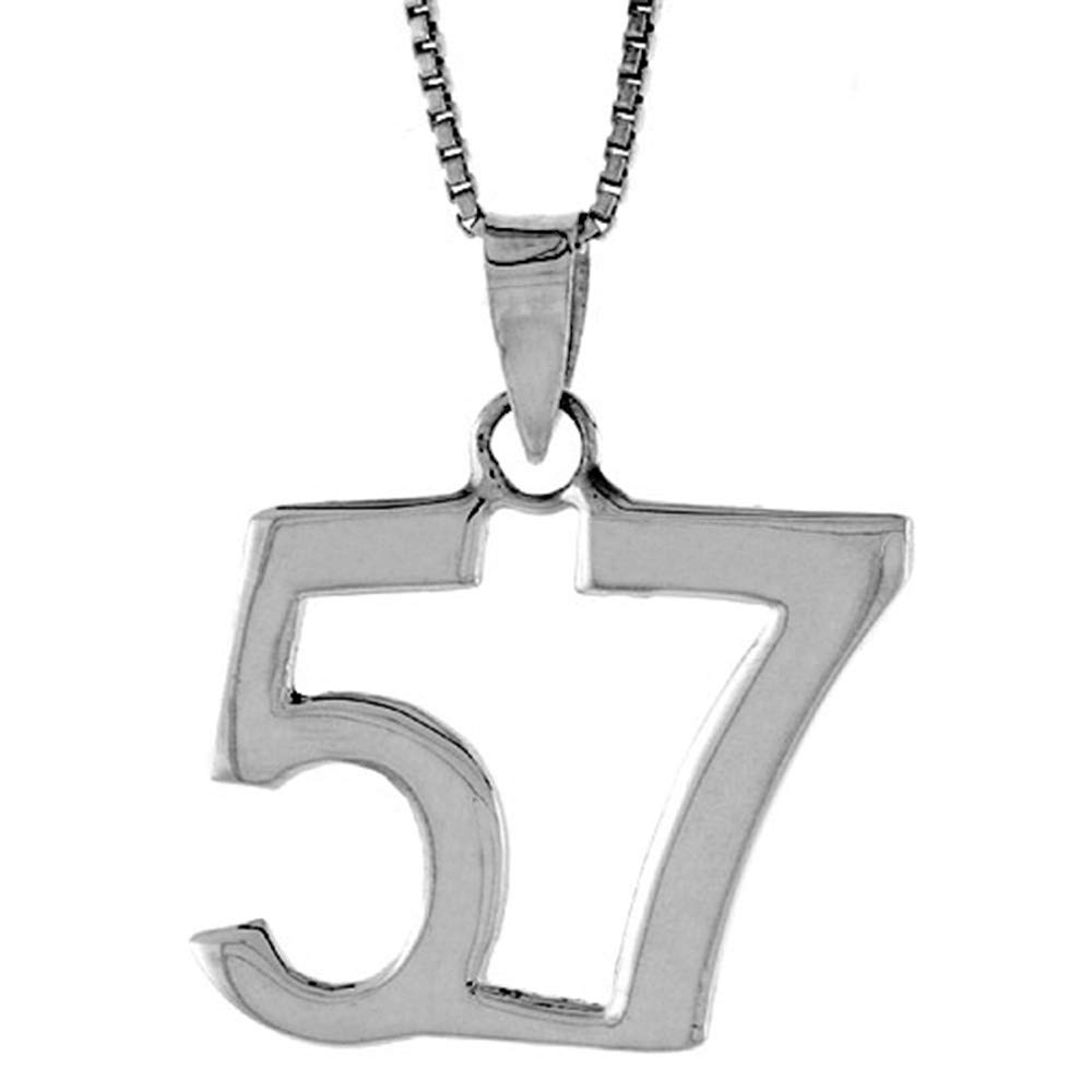 Sterling Silver Number 57 Necklace for Jersey Numbers /& Recovery High Polish 3//4 inch 2mm Curb Chain