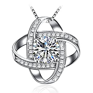 """J.Rosée Pendant Necklace with 925 Sterling Silver and 3A Cubic Zirconia, 18""""+2"""" Extender Chain, Jewelry Gifts for Women Girls"""